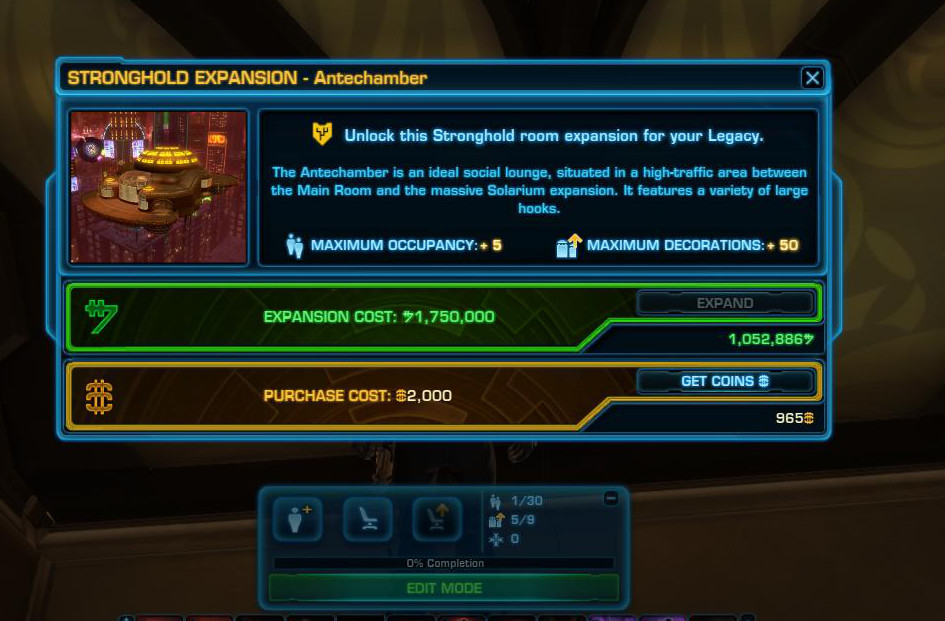 stronghold swtor how to buy apartments off the homeworld