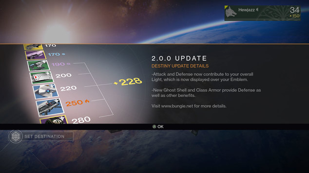 Destiny 20 update